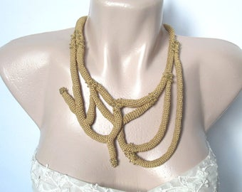 Crocheted necklace,Statement Necklace,Abstract jewelry, Crochet Tube Necklace, Βoho Chic,extravagant jewelry,Wearable Art