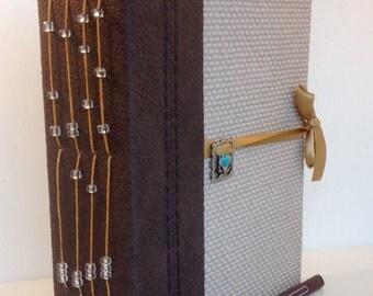 Handmade book journal, upcycled, travel, memories, scrapbook