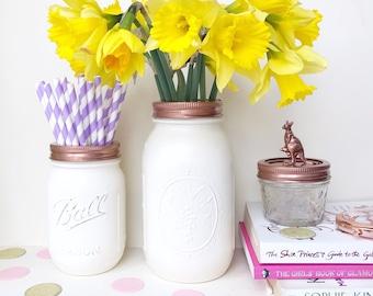White Mason Ball Jars, White vase, white makeup pot, rose gold office decor, makeup brush holder, white desk organizer, white accessories