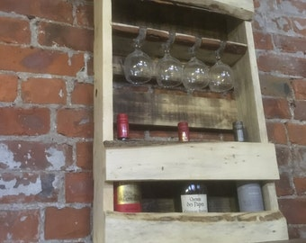Bottle and Glass Rack made with reclaimed timber