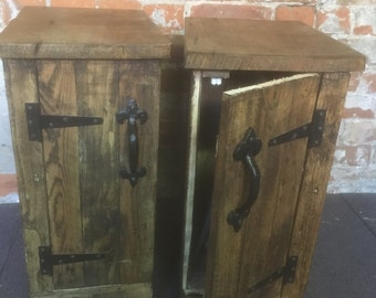 Pair of standard nightstands / bedside tables made with recycled pallet wood