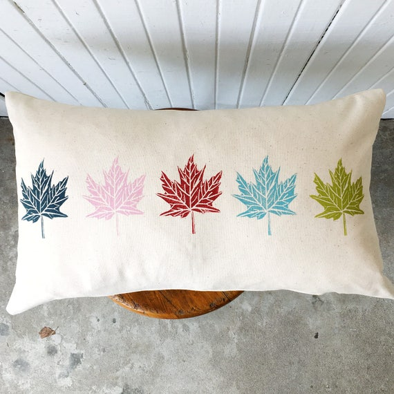 FREE SHIPPING! Organic canvas pillow cover, oblong, lumbar, maple leaves, red, blue, green, pink, accent pillow, Canada150, housewarming