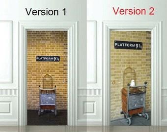 "3D Door Wall Sticker *Platform 9 3/4* /Harry Potter Decal/ Harry Potter Sticker/Hogwarts /Self-Adhesive Vinyl Mural/31""w x 79""h (80 x 200cm)"