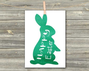 DIGITAL WATERCOLOR CARD Happy Easter bunny green download card Greeting Card easter decoration Easter card Easter rabbit Easter gift