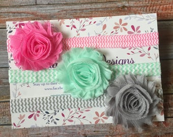 Baby Headband Set/Baby Headbands/Newborn Headband/Infant Headband/Baby Girl Headband/Shabby Chic Headbands/Hair Bows/Baby Bows/Baby Headband