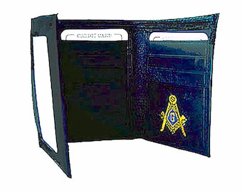 MASONIC WALLET - Tri Fold - High Quality Leather - Embroidered Logo