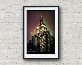 Empire State Building,NYC, Urban landscape,Manhattan,gotham,skyscraper,Wall Art,Wall Decor,