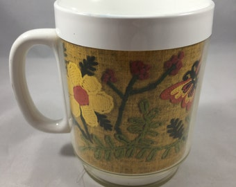 Vintage Insulated Plastic Thermo Serv Mug Embroidered Flowers and Butterfly Motif Mug