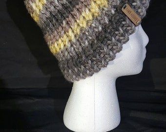 Yellow and Grey Striped Beanie