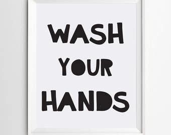 Wash your hands, bathroom wall decor, Restroom decor, Restroom, Restroom print, Bathroom humor print, Restroom art, Restroom wall art