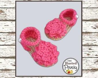 Crochet Baby Sandals, Size 0-3 Months