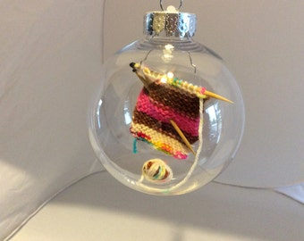 Knitting themed ornaments