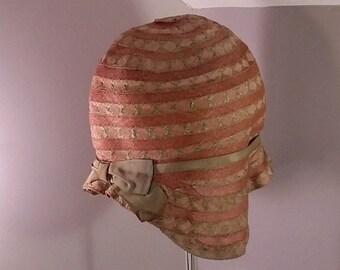 Original Vintage 1920's, Woman's, Flapper, Gatsby Cloche Helmet Style Hat
