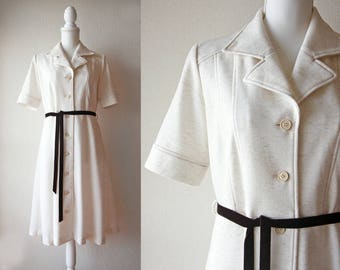 Japanese Vintage Dress / Vintage 1970's Dress / Leo d'Or Cream Midi Shirt Dress