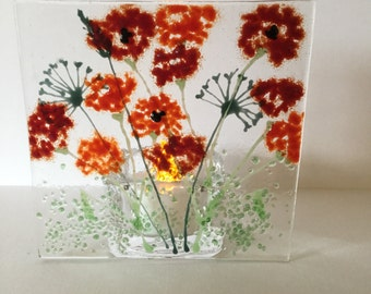 Floral Glass Plaque, Candle Display, Red Poppies,  Fused Glass, Kilnformed Glass, Home Decor, Gift for her, Birthday Gift, Teacher's Gift