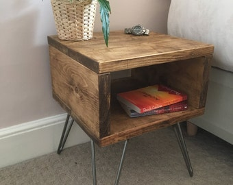 Rustic Wooden Bedside Table | Night Stand Made From Reclaimed Scaffold Boards & Steel Hairpin Legs - Urban Industrial