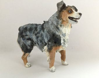 Custom Australian Shepherd Sculpture | 3D Printed & Hand-painted | Pet Portrait Dog Statue Aussie Figurine Memorial | Australian Collectible