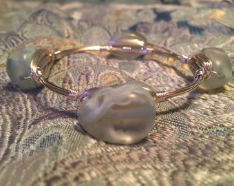 Baby blue wrapped wire bangle