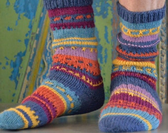 colorful socks 42/43, alpaca / wool, hand-knitted