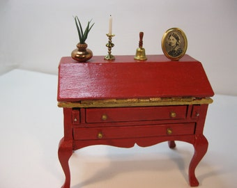 Dolls house 1/12th scale reconditioned desk in red paintwork with many accessories