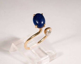 14K Yellow Gold Lapis and Diamond Chip Ring, size 6