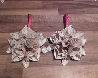 Music paper origami Christmas decoration