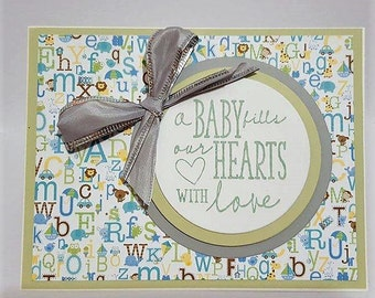 Welcome Baby Card, Baby Shower Card, Handemade Baby Card, Neutral Baby Card