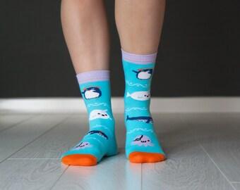 Socks Sea Monsters | Funny Socks | Socks | Men Socks | Women Socks | Zesox | Cool Socks | Cute Socks | Kawaii Socks | Pinguin | Whale | Sea