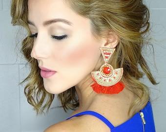 Tassel Long Earrings, Boho Earrings, Wholesale Earrings, Threader earring, Boho Ethnic Earrings, Chandelier Earrings,Red Earrings,Boho-Chic