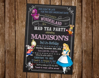 Alice in Wonderland Invitation Printable, Alice in Wonderland Birthday Party