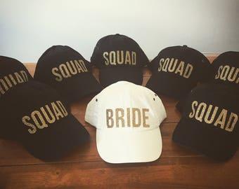 Bride Squad Baseball Caps, Bride Squad Trucker Hats, Black, White, Gold Glitter, Bachelorette Party Hats, Bride Hat