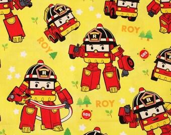 Robocar Poli Roy Korean Anime Character Fabric made in Korea, Cars, Kids, By Half Yard