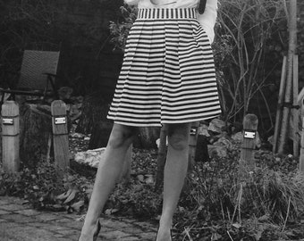 Monochrome skirt, handmade, high waist, pleats, pockets, black and white stripe