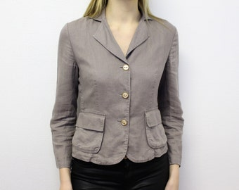 Gray Linen Jacket Womens Clasic Grey Linen Blazer Fitted Gray Summer jacket Medium Size