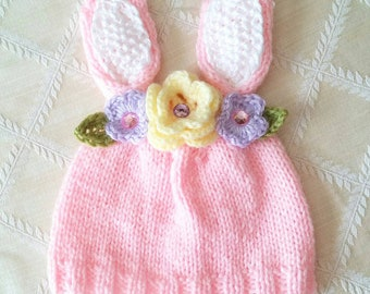 Easter-Pink Bunny Hat-Bunny Hat with Flowers-Girl Easter Hat- Knit Hat-Pink Hat-Handmade-Spring Knit Hat-Spring Bunny Hat-Flower Crown Hat