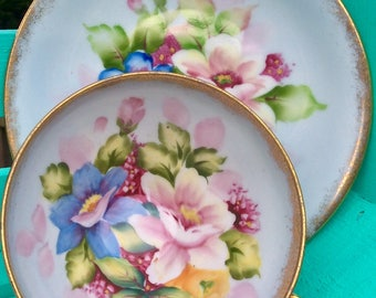 Pretty in Pink-Shafford Japan Hand Painted Pedestal Teacup and Saucer