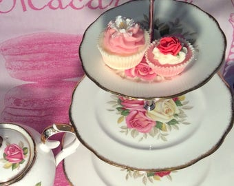Pretty In Pink-Exquisite Queen Anne 3 Tier Cake Stand
