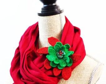 Red Brooch Green Brooch Black Brooch Felted Brooch Felted Jewelry