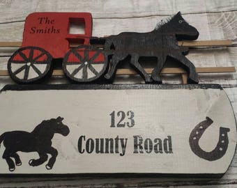 Horse address sign, Personalized address sign, House address sign, House name sign, House number sign, address sign, farm address sign