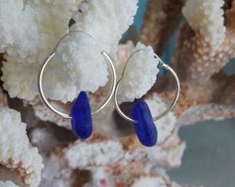 Seaglass: Blue  Seaglass Sterling Silver Hoop Earrings