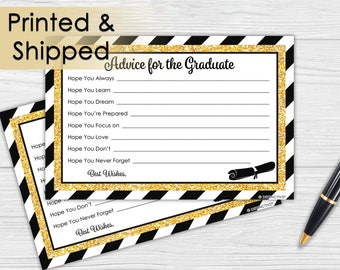 Black and Gold Graduation Advice Cards - Glitter Grad Party Idea - Gold Senior Class of 2017 - Easy Party Favor, Gold Black Grad (Set of 25)