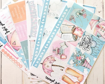 Rainy day planner stickers weekly kit:  spring planner stickers COZY RAIN for erin condren life planner eclp mambi happy planner