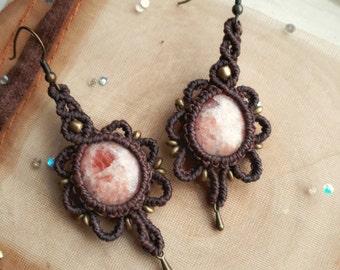 """Sunstone """"Rising Sun"""" Earrings // Sunstone Macrame Earrings // Macrame Crystal Earrings"""