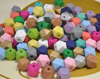 100pcs Hand Painted beads,15mm mixed color Geometric Wood Beads,Pastel wooden Beads, Geometric necklace/bracelet Jewelry.