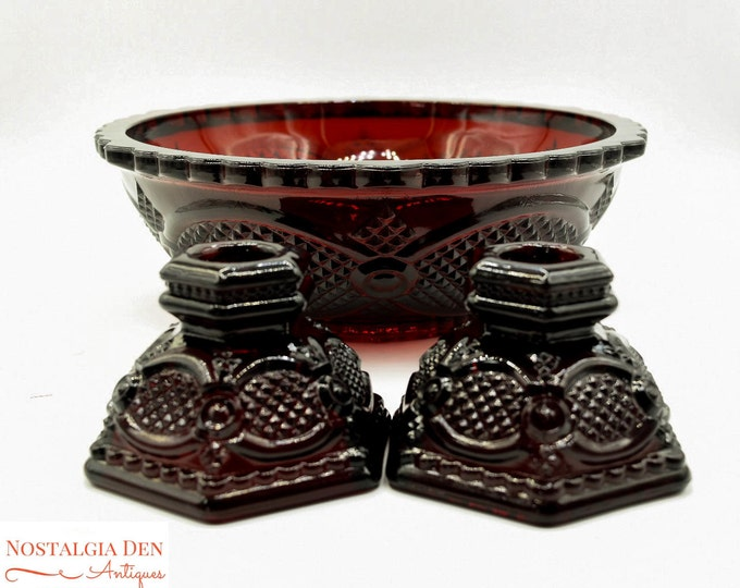 Vintage AVON 1886 Centennial Edition Cape Cod Collection Ruby Candle Holders and Serving Bowl