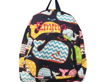 Small backpack-child backpack-backpack-toddler backpack-gift-whales backpack-girl backpack-monogrammed backpack-personalized backpack