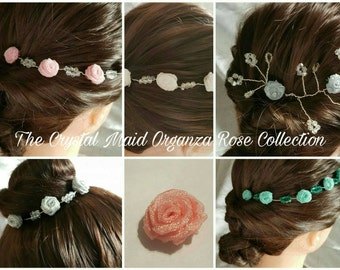 Organza rose and crystal bridal/bridesmaid hair vine