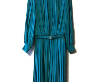 Vintage Pleated Dress - Turquoise Dress - Retro Dress - Long Sleeves