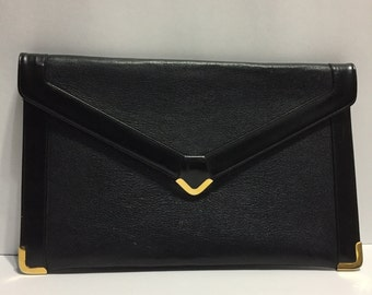 Black Leather Purse - Genuine Leather - Leather Cluthe - Koret - Classic Purse