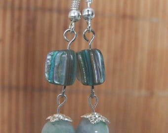 Pearl Earrings and jade several shades of blue